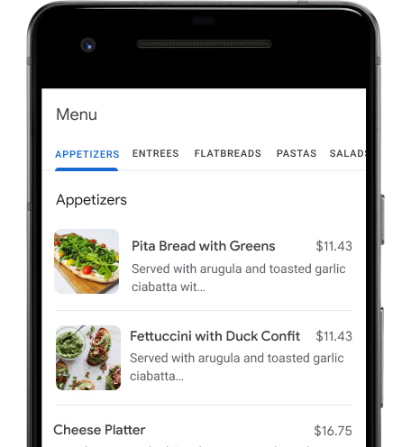 Mobile selection page for restaurants to order food from.
