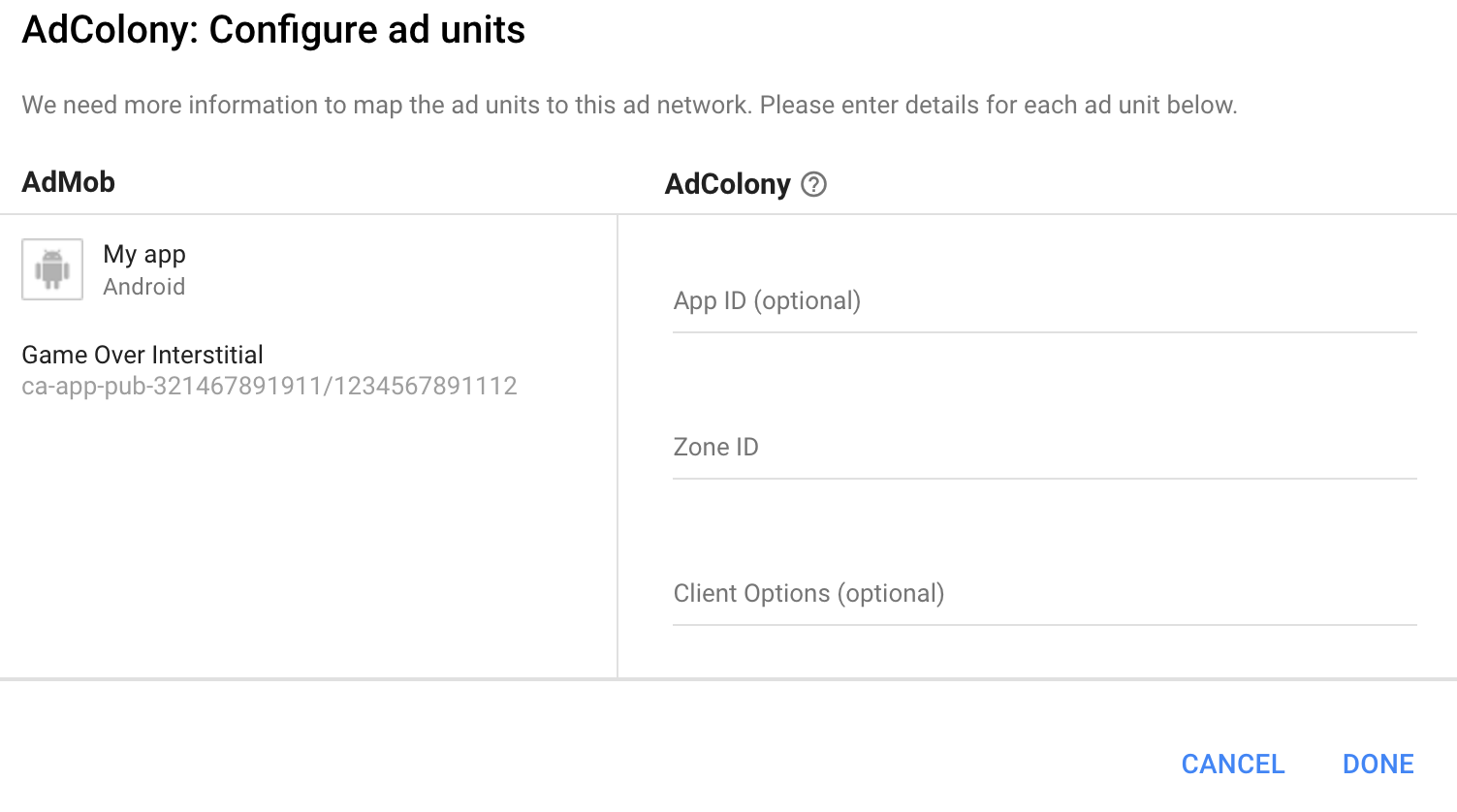 Configure AdColony ad unit