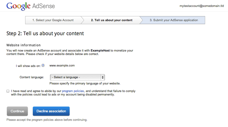 Account creation or association takes place on the AdSense website.