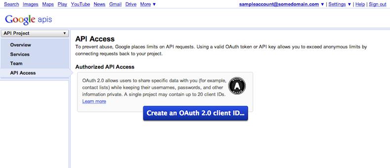 [API アクセス] タブでは、OAuth 2.0 クライアントを作成できます。