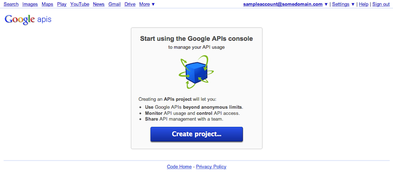 You can create new projects in your APIs console page.
