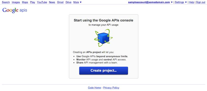 Você pode criar novos projetos na sua página do console de APIs.