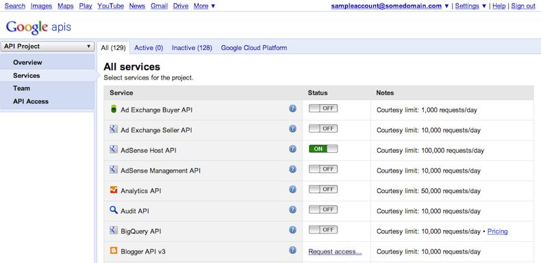 """La pestaña """"Services"""" (Servicios) permite elegir las API activas en tu proyecto."""