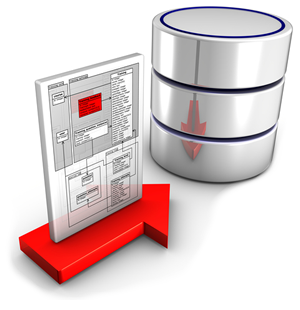 An arrow with a schema document hovering above. The arrow is               pointing towards a cylinder representing a database.