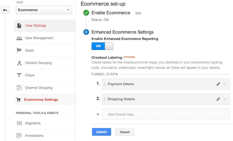 Configuración de comercio electrónico en la sección de administración de la interfaz web de Google Analytics. Se ha habilitado la función de comercio electrónico y se han agregado etiquetas de pasos del embudo de pago: 1.Detalles de pago, y 2.Detalles del envío