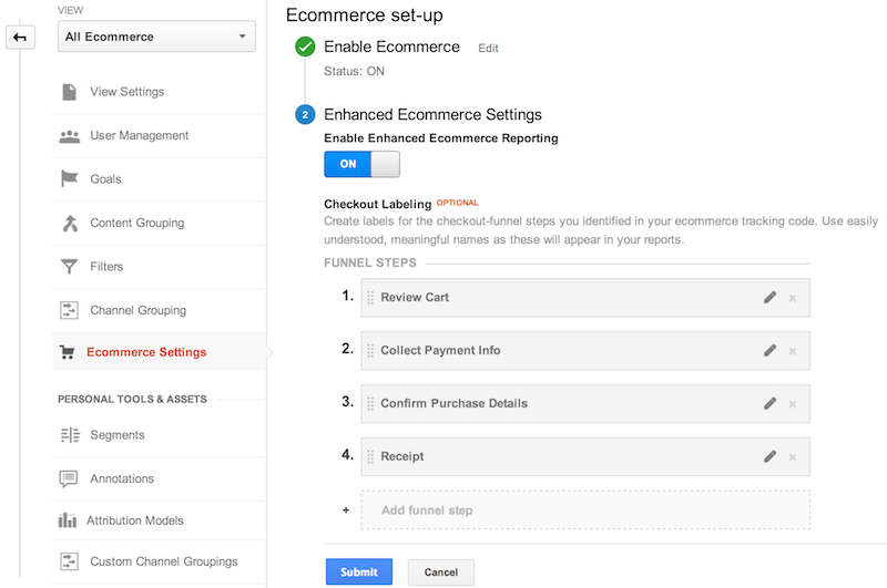 "Google Analytics(分析)网络界面""管理""部分中的""电子商务设置""。开启了电子商务功能,为 4 个结帐渠道步骤指定了标签:1. 检查购物车,2. 填写付款信息,3. 确认订单详情,4. 收据"