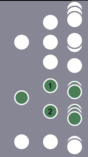 De tres usuarios, el segundo y todas sus sesiones se incluyen en el segmento debido a una secuencia de sesión coincidente con unos pasos inmediatamente a continuación de otros en todas las sesiones.El otro usuario y sus sesiones se excluyen.