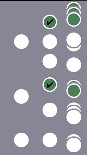 De tres usuarios, el primero y el segundo, y solo una sesión de cada uno, se incluyen en el segmento debido a una única condición de sesión coincidente. El tercer usuario y sus sesiones se excluyen.