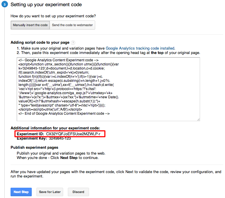 Getting the Experiment ID from the web interface.