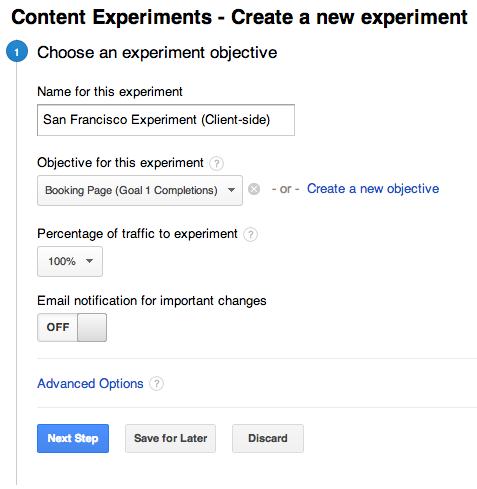 Setting the experiment objective in Google Analytics