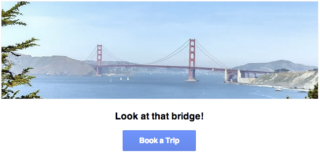 A picture of the golden gate bridge with a sub-heading, Look at that           Bridge!, and a blue button with the label Book a Trip