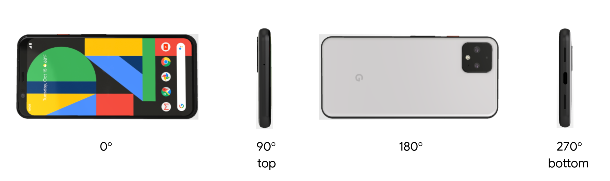 Photo that shows device at various degrees of rotation (landscape)