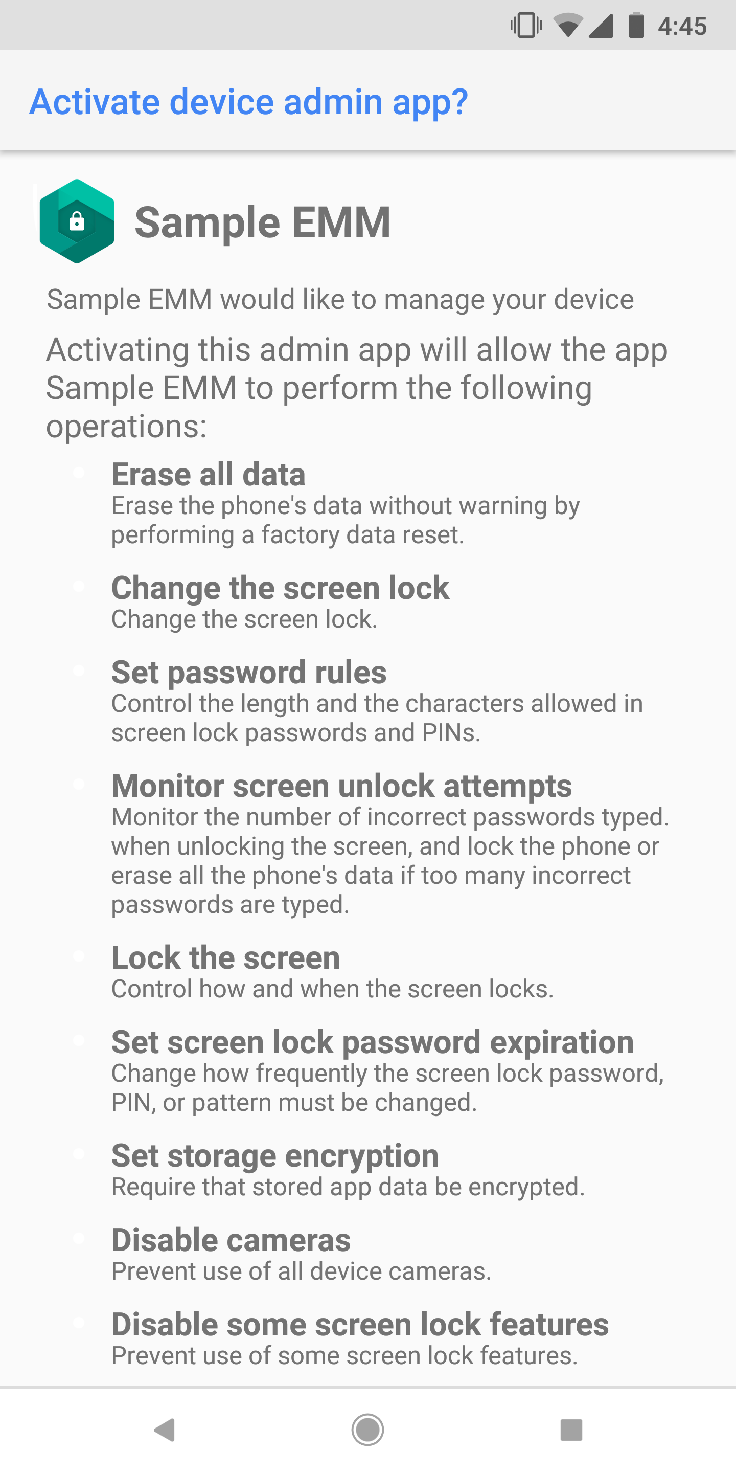Activate device admin example