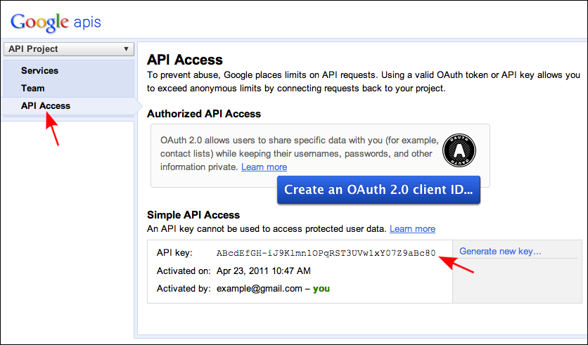 Screenshot of Google Developers Console and location of API key.