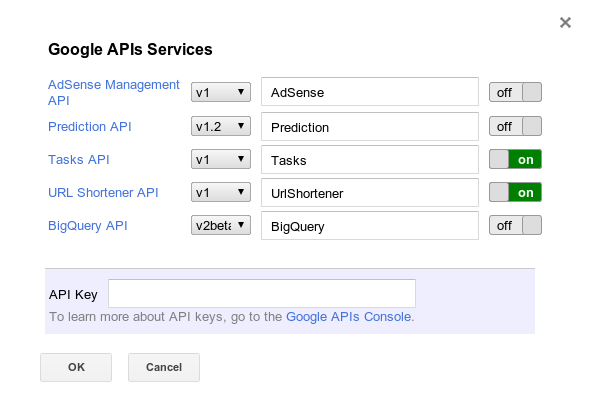 Screenshot of Google APIs Services dialog box.