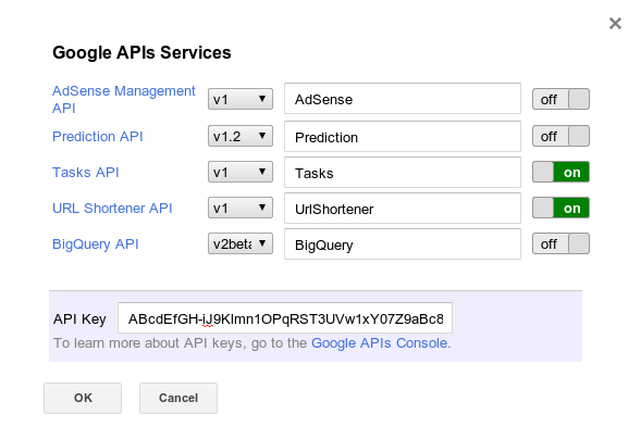 Screenshot of Google APIs Services dialog box with Tasks and UrlShortener enabled.