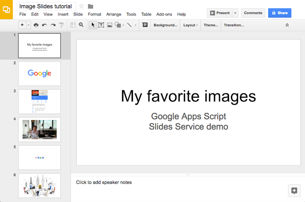tutorial generating google slides from images apps script