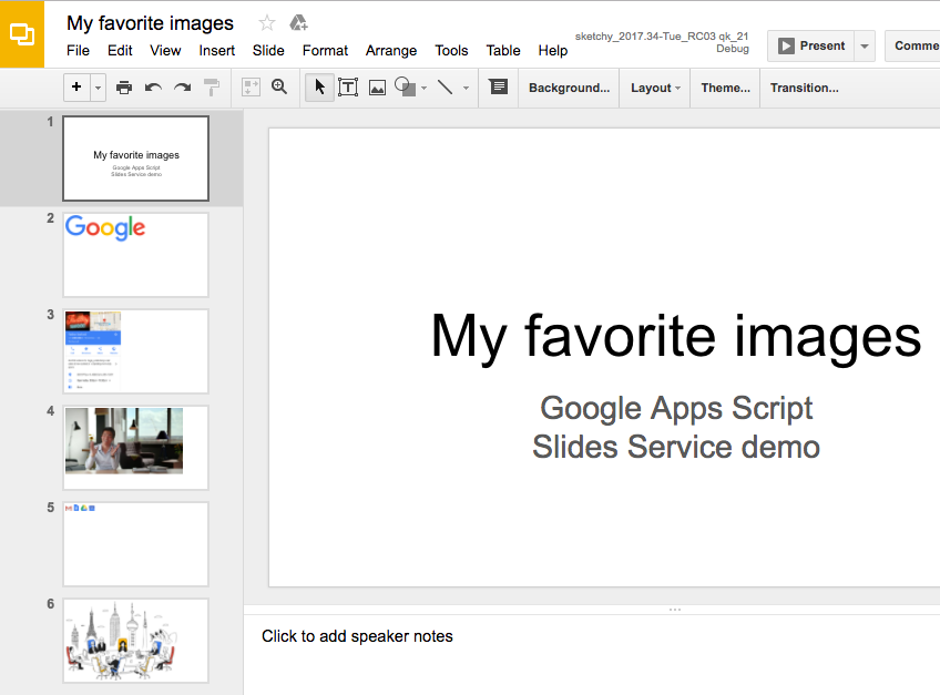 Tutorial: Generating Google Slides from images | Apps Script