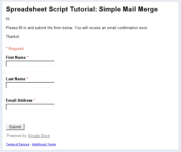 Tutorial: Simple Mail Merge | Apps Script | Google Developers on google resume form, google survey form, google mission statement, google job application response, google job application process, google grants application form, google job cover letter, google form template,