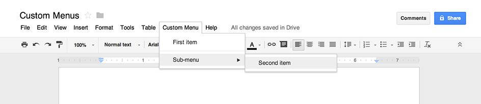 custom menus in g suite apps script google developers