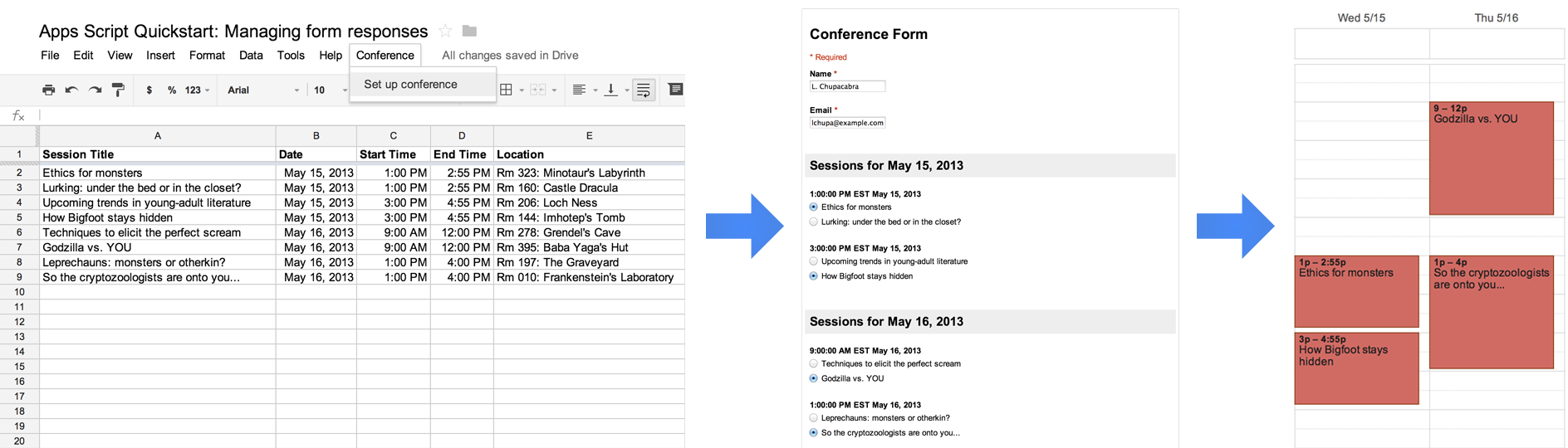 Quickstart: Managing Responses for Google Forms | Apps
