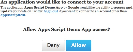 Twitter Authorization Dialog
