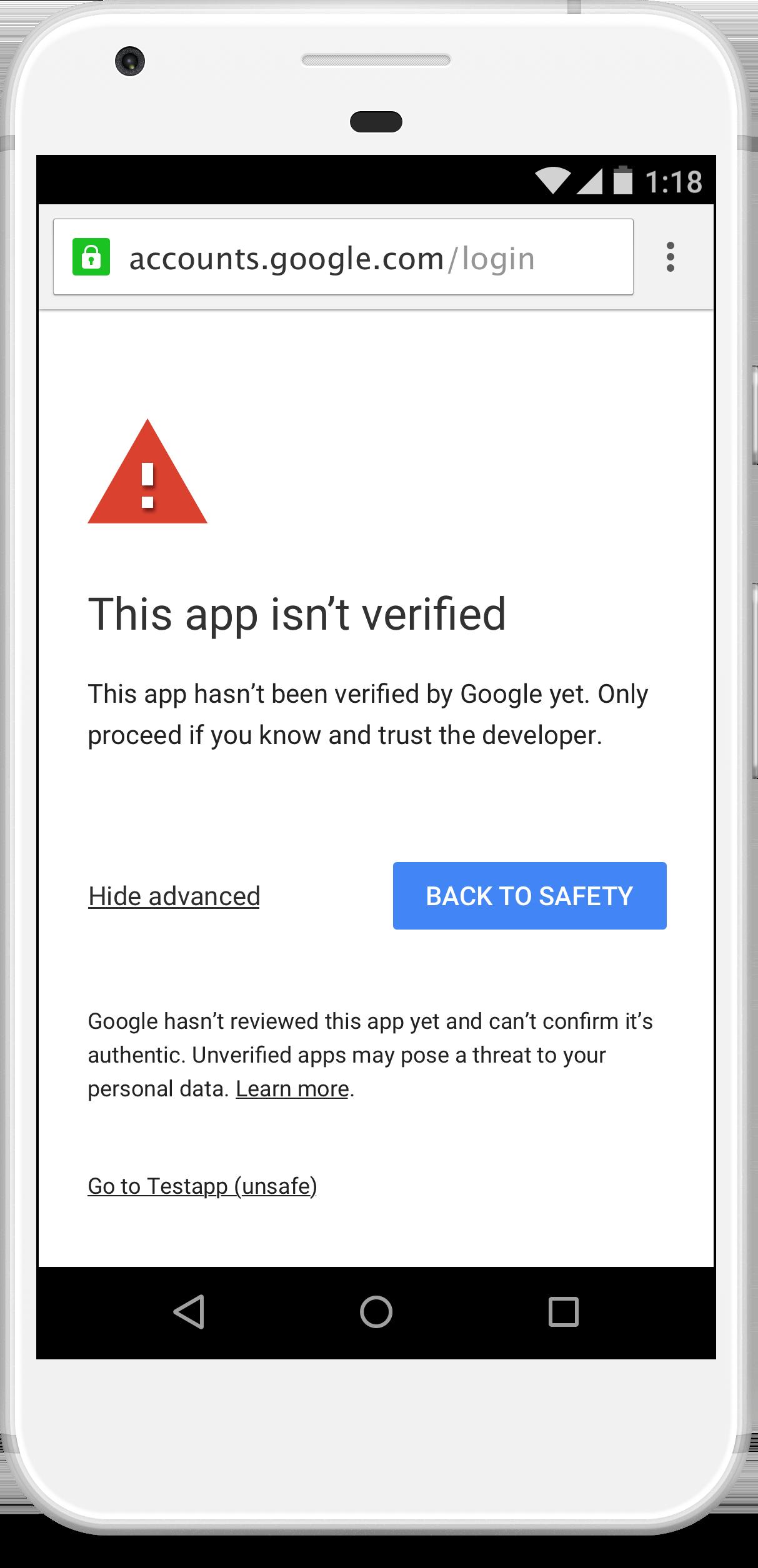 Unverified app screen