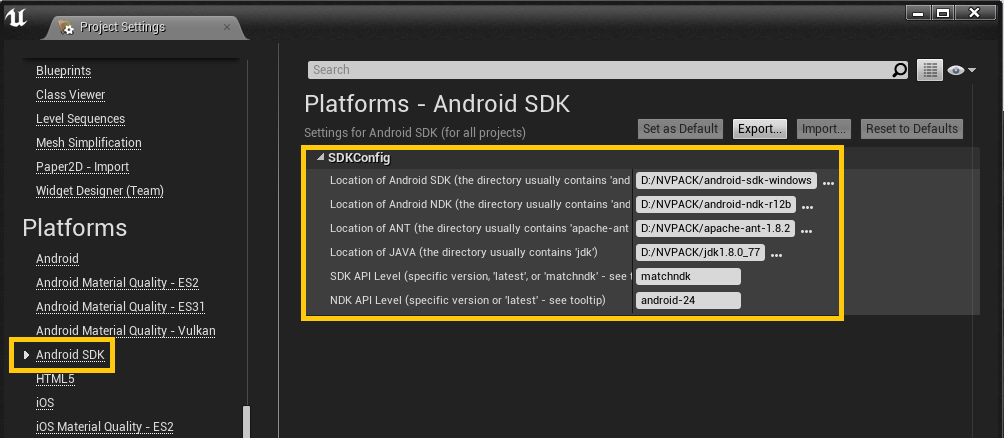 Quickstart for unreal arcore google developers set the sdk api level to matchndk then set the ndk api level to android 24 or higher malvernweather Images