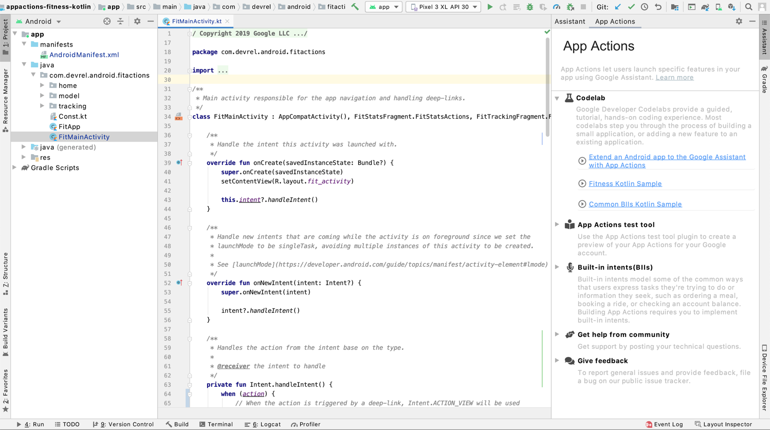 App Actions test tool assistant