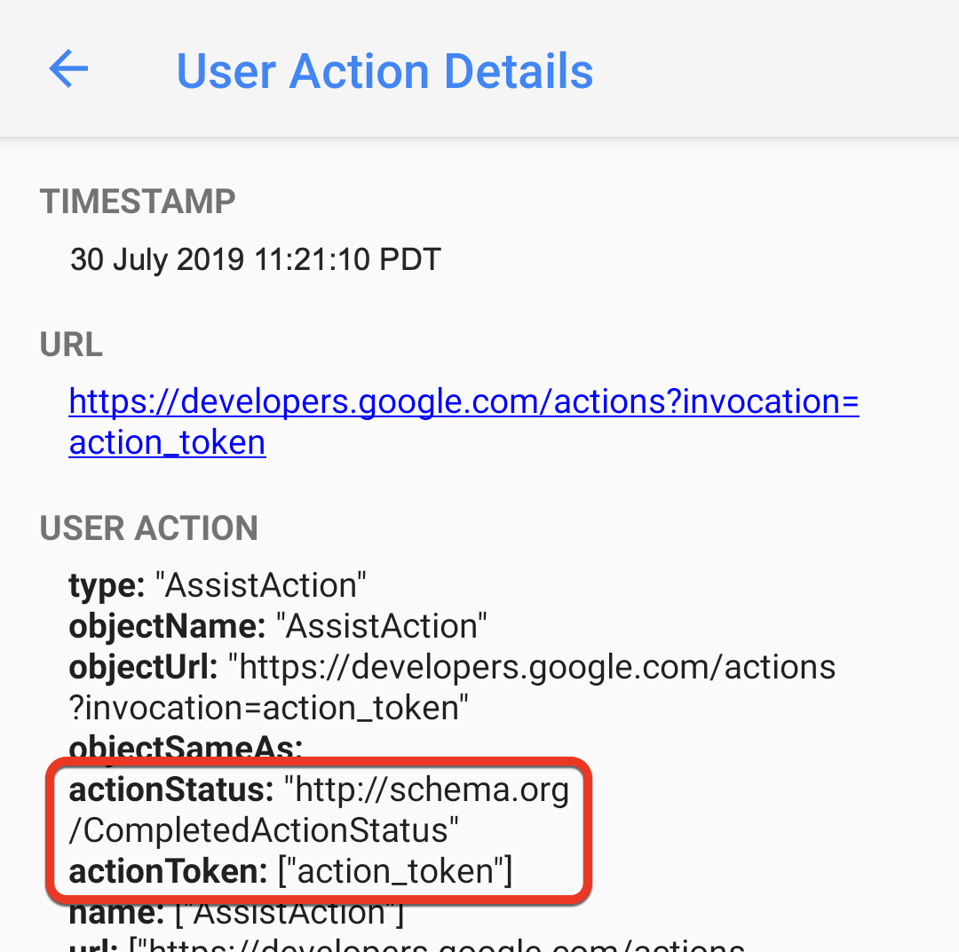 The actionStatus and actionToken items are highlighted in a device screenshot of the User Action Details page.