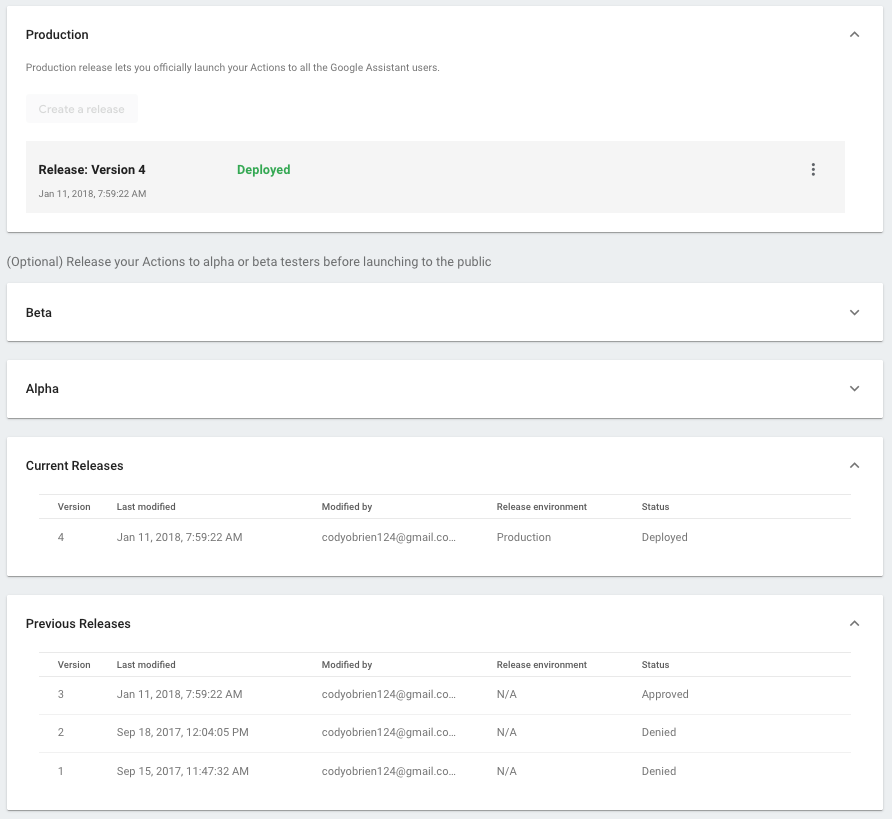 Screenshot of the Actions overview page showing previously released versions