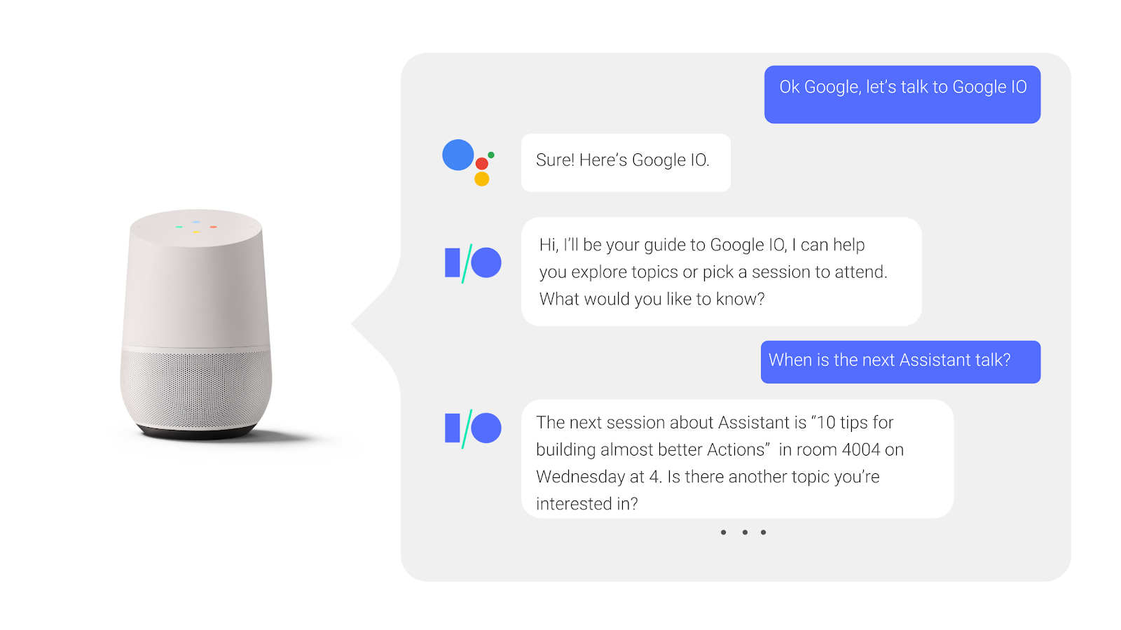 In     a back-and-forth conversation with the Google Assistant, a user asks about     and receives an answer for when a conference session is happening.