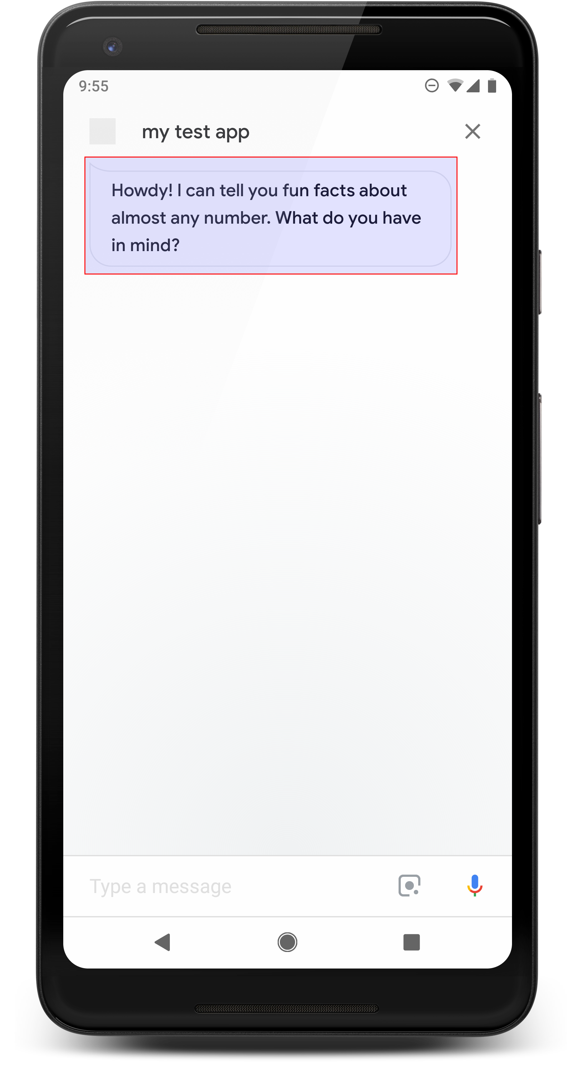 Example of a simple response on a mobile device