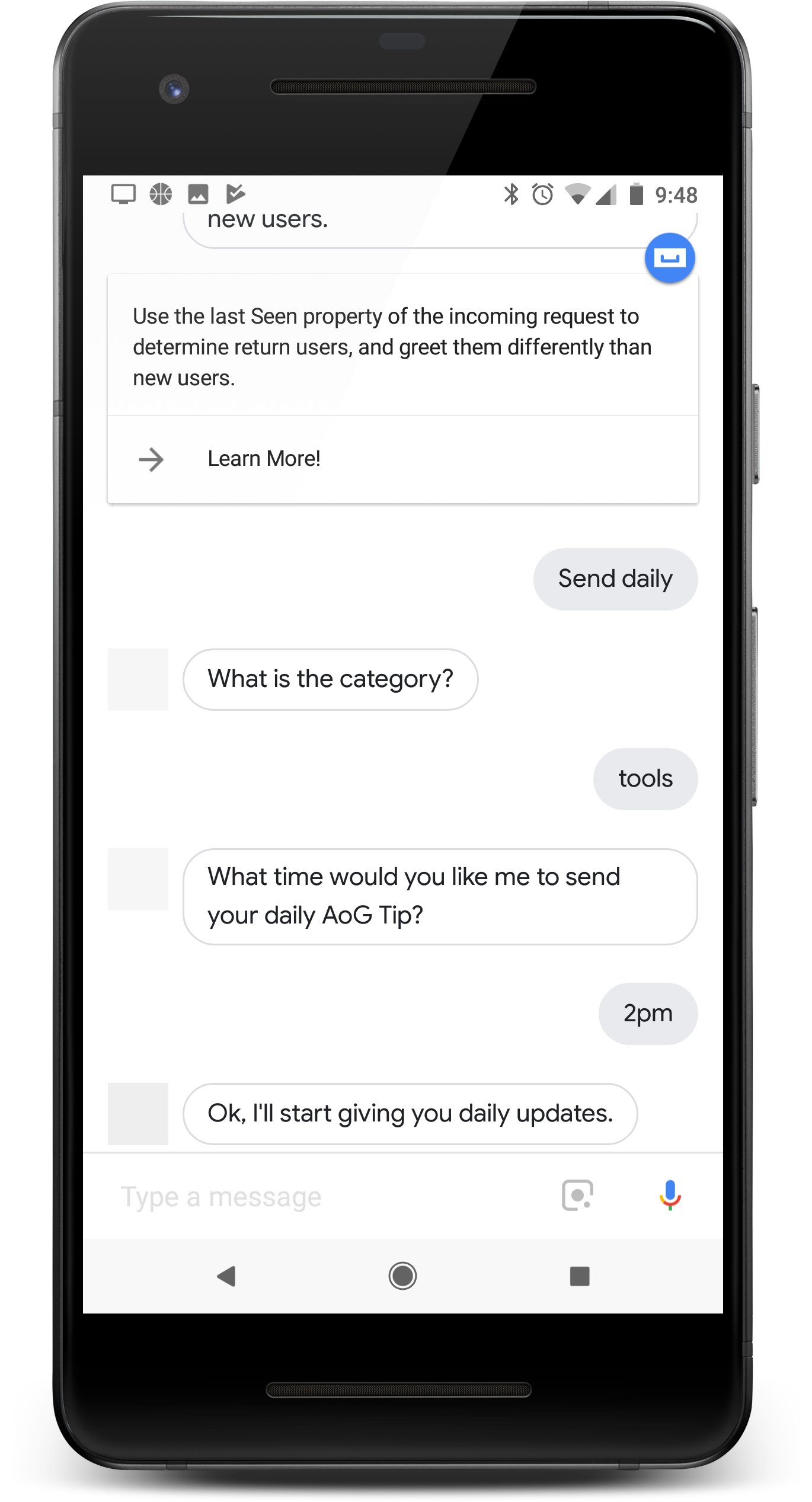 A user subscribing to an Action's daily updates on their phone