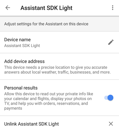 Change Settings in the Assistant App | Google Assistant SDK | Google