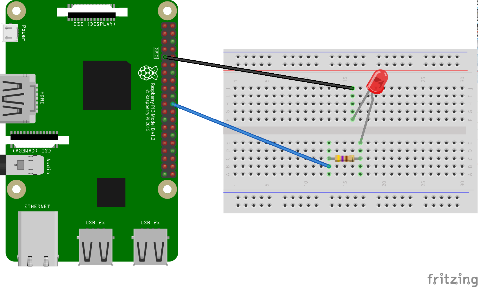 Wire an LED to the Raspberry Pi