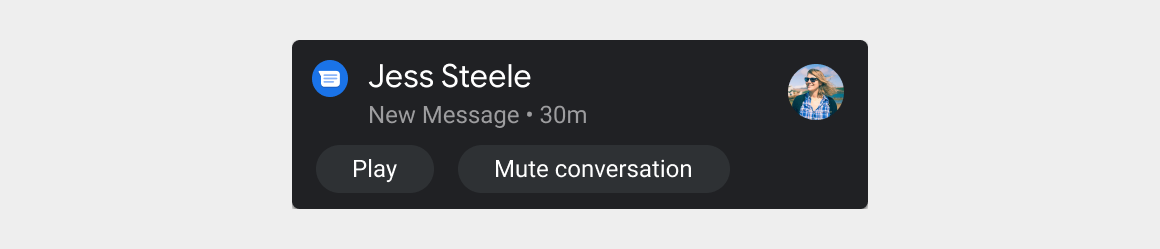 Message notification card