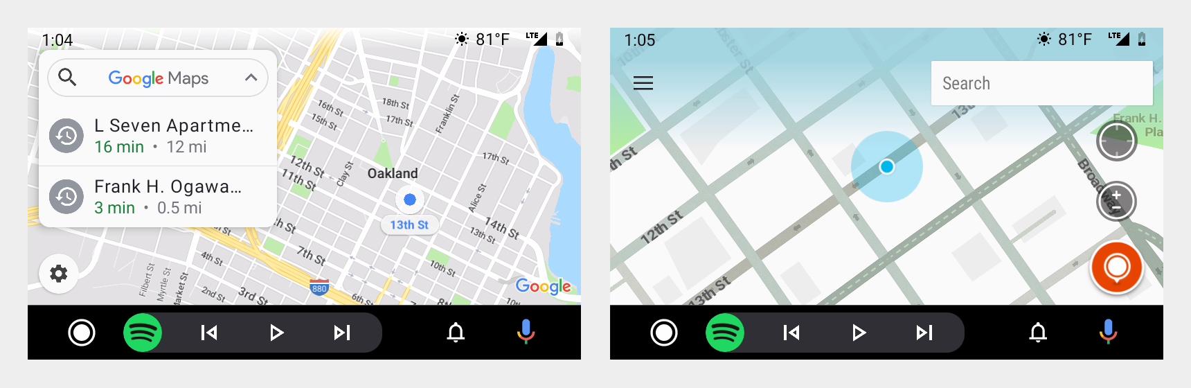 Screenshots from navigational apps