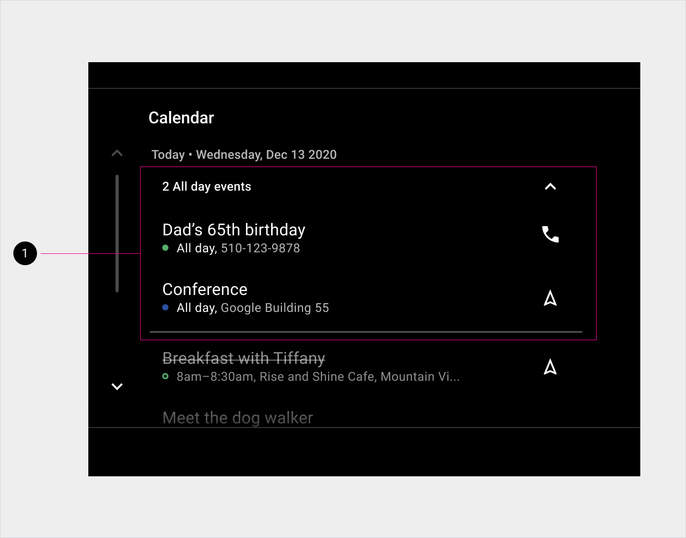 Calendar view of Today's all-day events