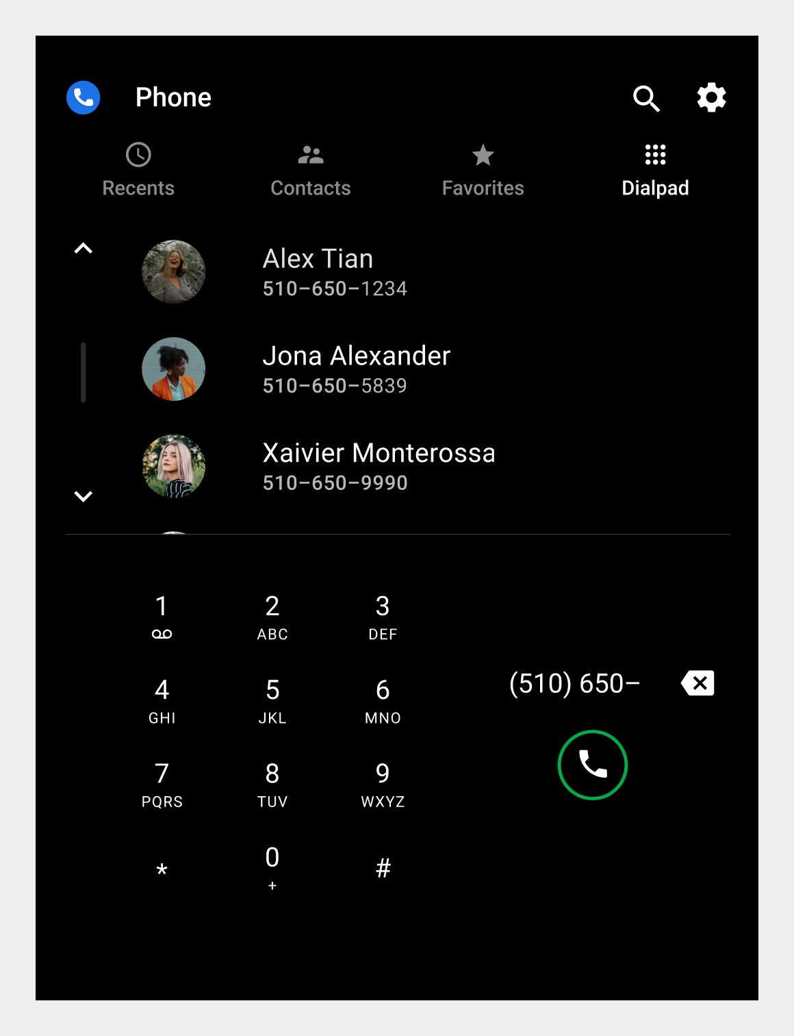 Dialpad tab portrait orientation with recognized contact