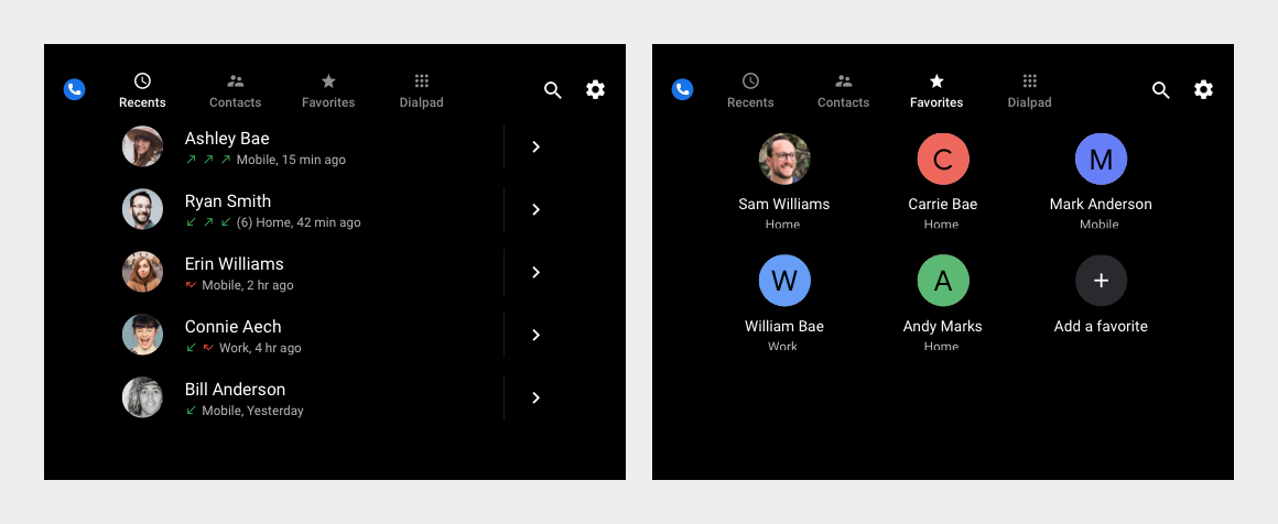 Side-by-side view of contact list and Favorites grid