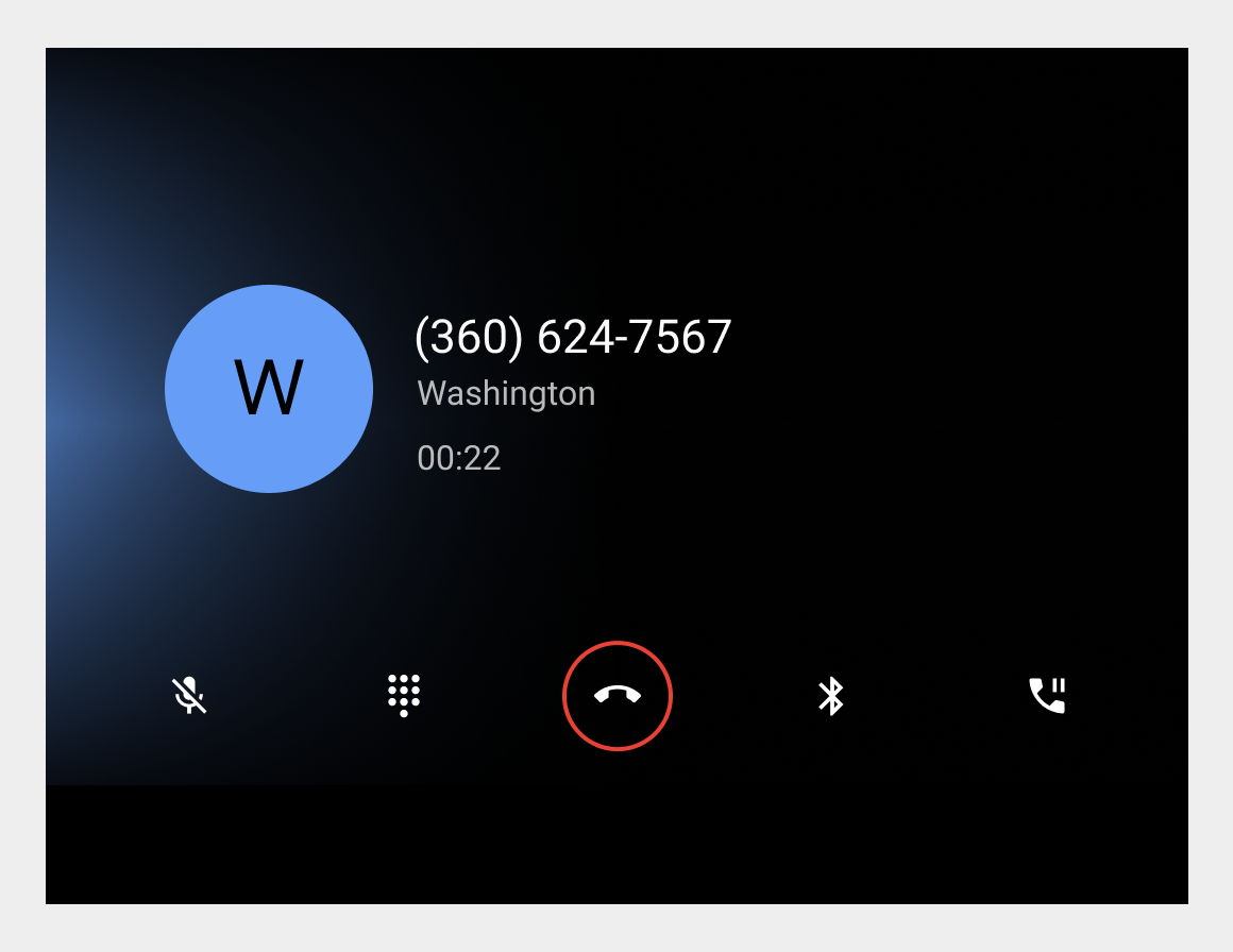 Unknown contact calling screen