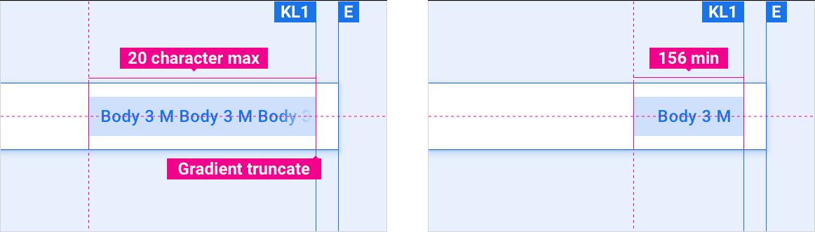 Maximum button label length is 20 characters. Minimum button width is 156dp.