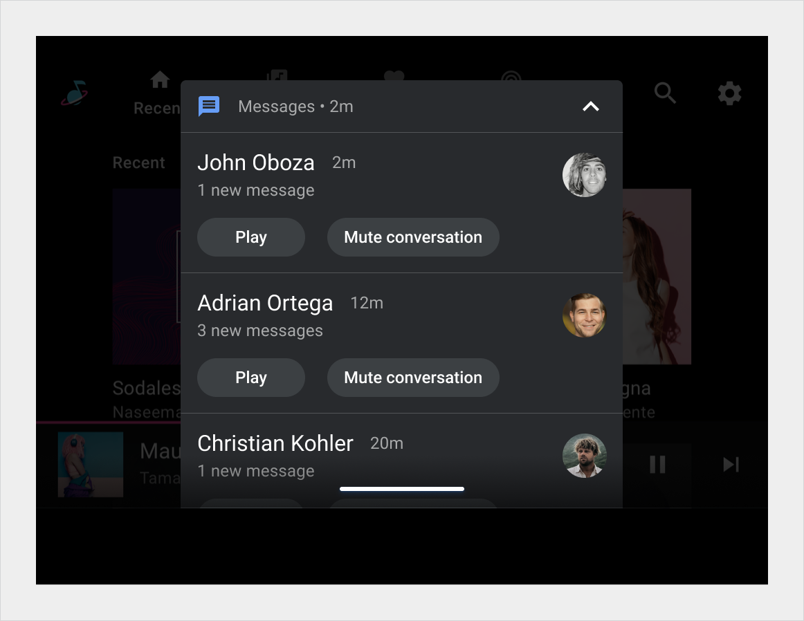 Expanded version of a grouped notification shows all individual notifications in the group