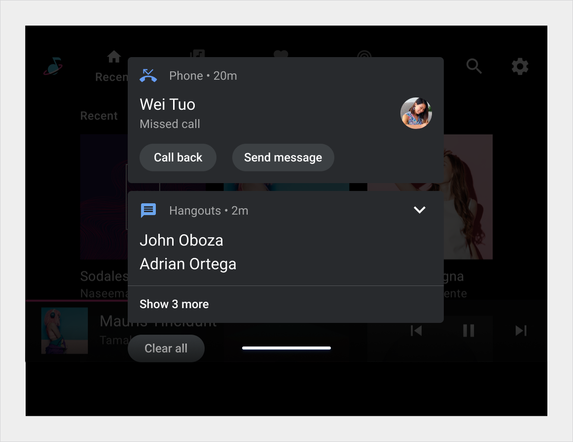 Vertical list showing first and second notification cards in the Notification Center