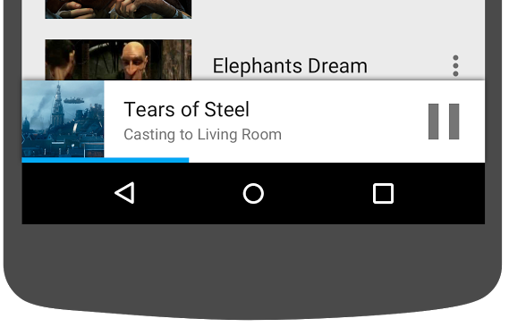 Illustration of bottom portion of Android phone showing the miniplayer in the Cast Videos app