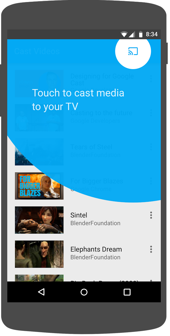 Illustration showing the introductory Cast overlay around the Cast button on the Cast Videos Android app