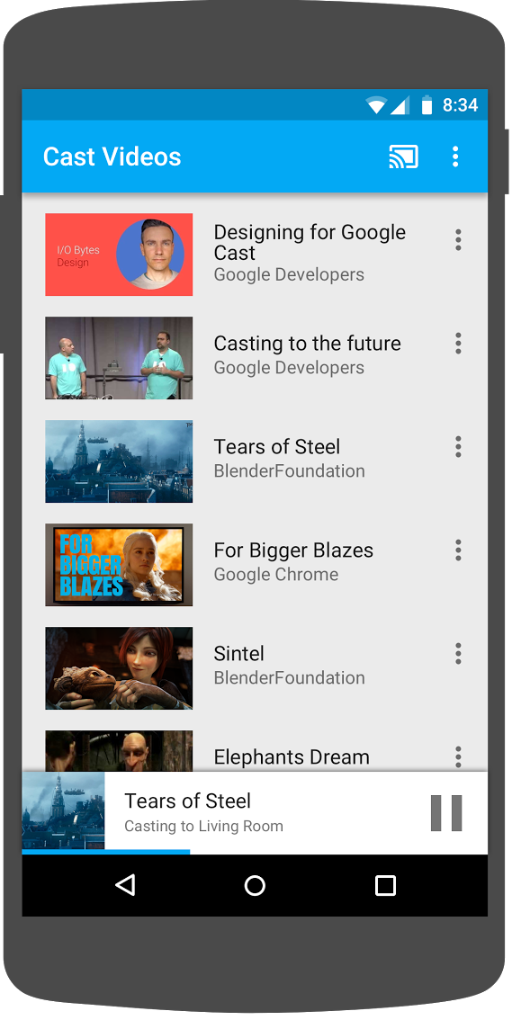 Illustration of an Android phone running the 'Cast Videos' app with thee mini controller appearing at the bottom of the screen