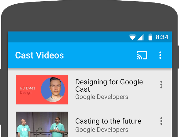 Illustration of the top portion of an Android phone with the Cast Video app running; the Cast button appearing in the upper right corner of the screen