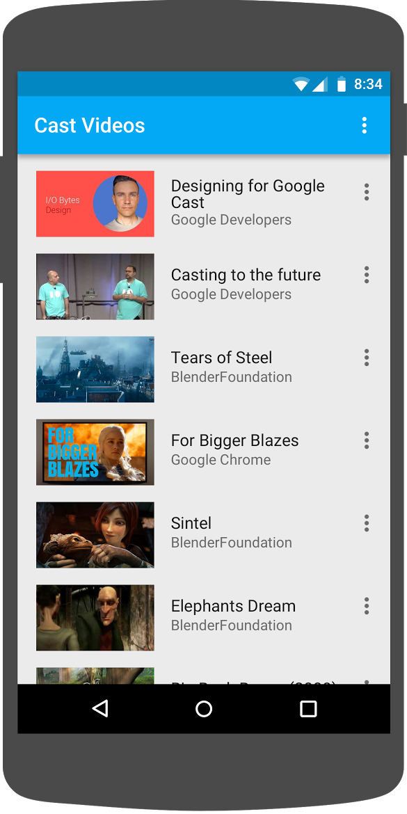 Illustration of an Android phone running the 'Cast Videos' app